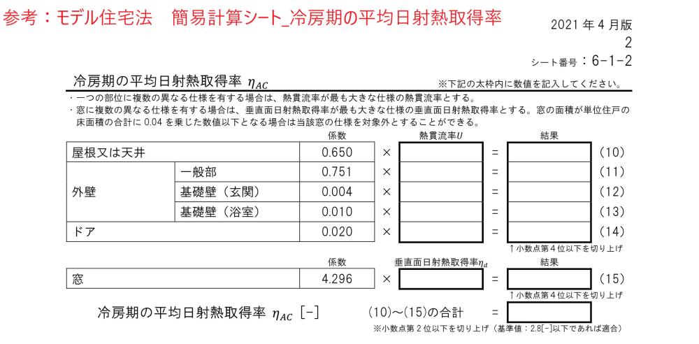 モデル住宅法簡易計算シート_木造冷房期の平均日射熱取得率